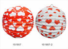 25cm Red Heart Custom Printed Paper Lanterns Accordion , Multi Coloured Paper Lanterns