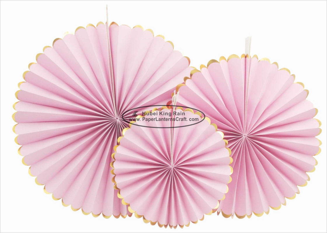Single Color Pink Paper Fans Party Favors 14 Inch For Home Decoration