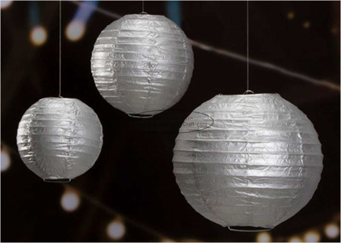 "14"" Printed Silver Gold Circle Paper Lanterns Handmade Craft For Cultural Garden"