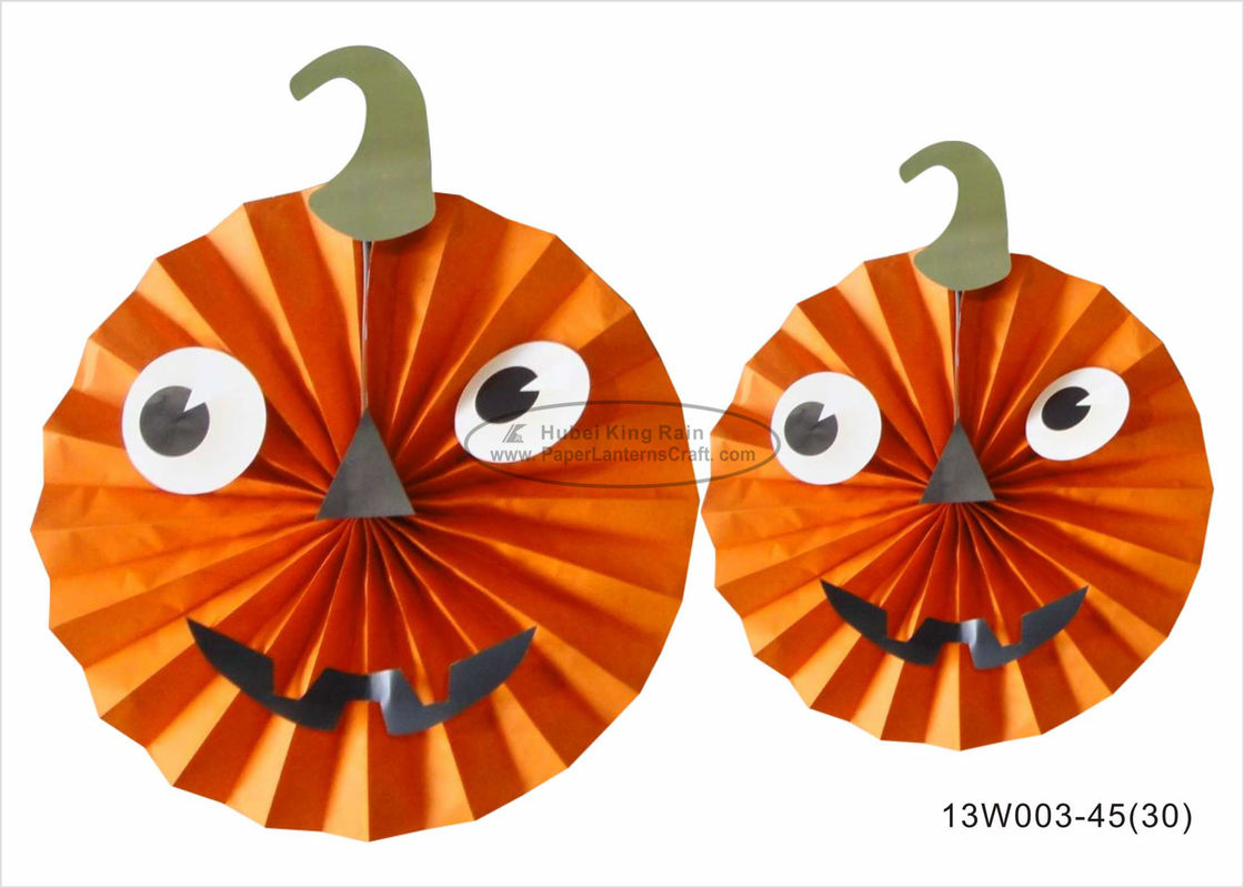 "Lightweight Paper Halloween Decorations 10"" 12"" 14"" Pumpkin Face Halloween Paper Fans"