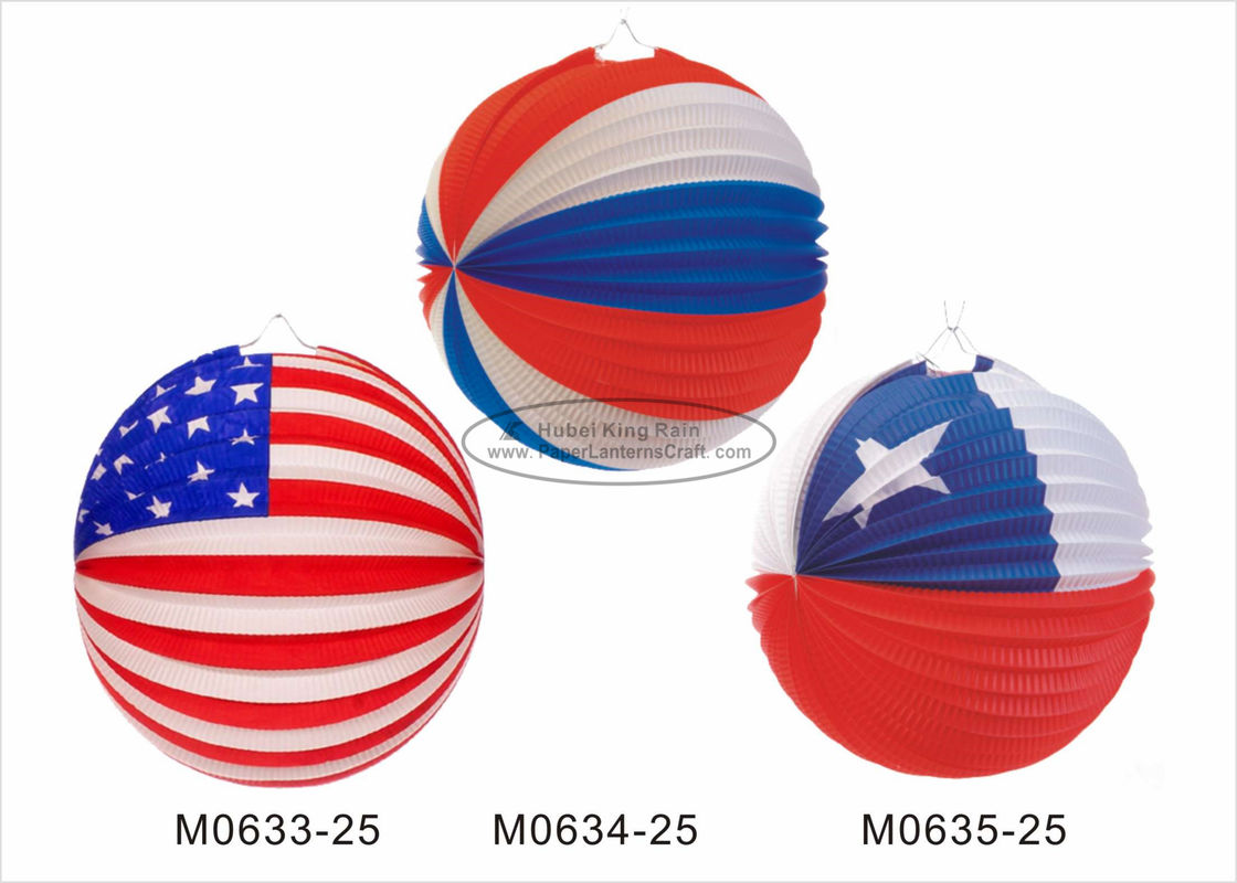 20cm July 4th Round Paper Lanterns Party Decorations For Cultural Center