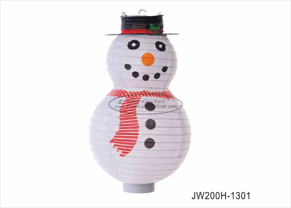 Fashion 8 Inch Snowman Paper Lantern Custom Printed For Paper Christmas Ornaments