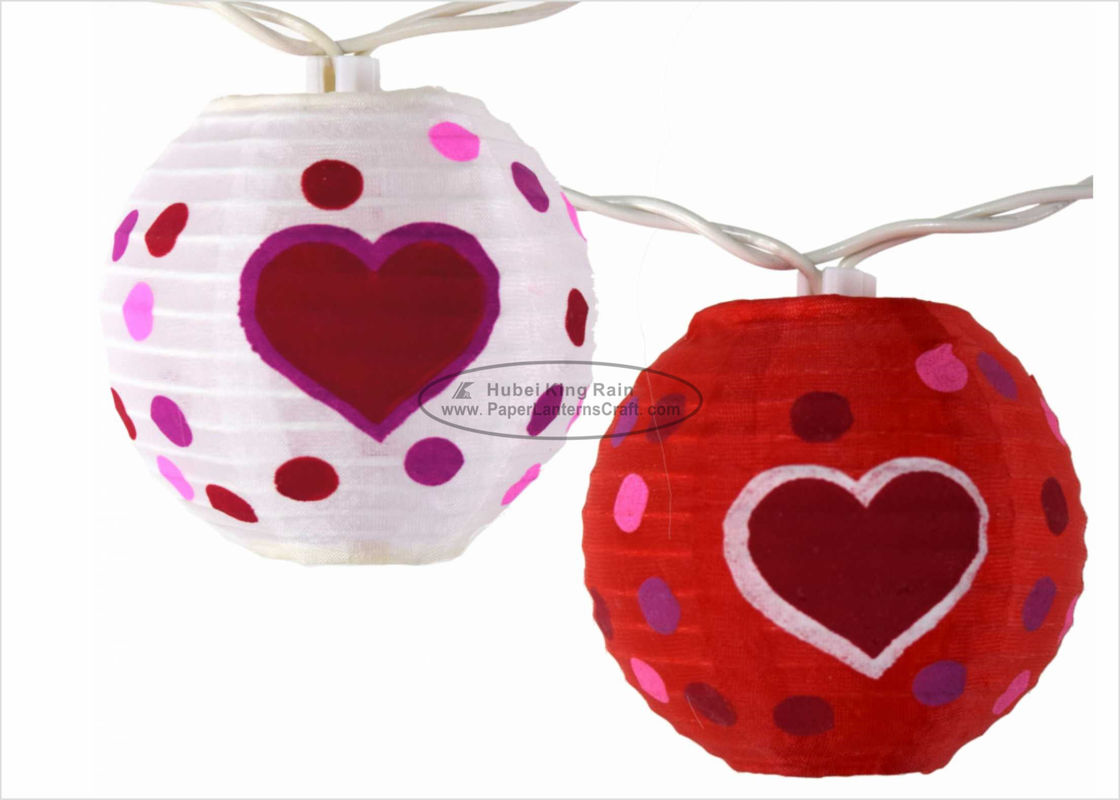 3 Inch Heart Paper Lantern Wedding Decor Battery Operated Outdoor String Lights