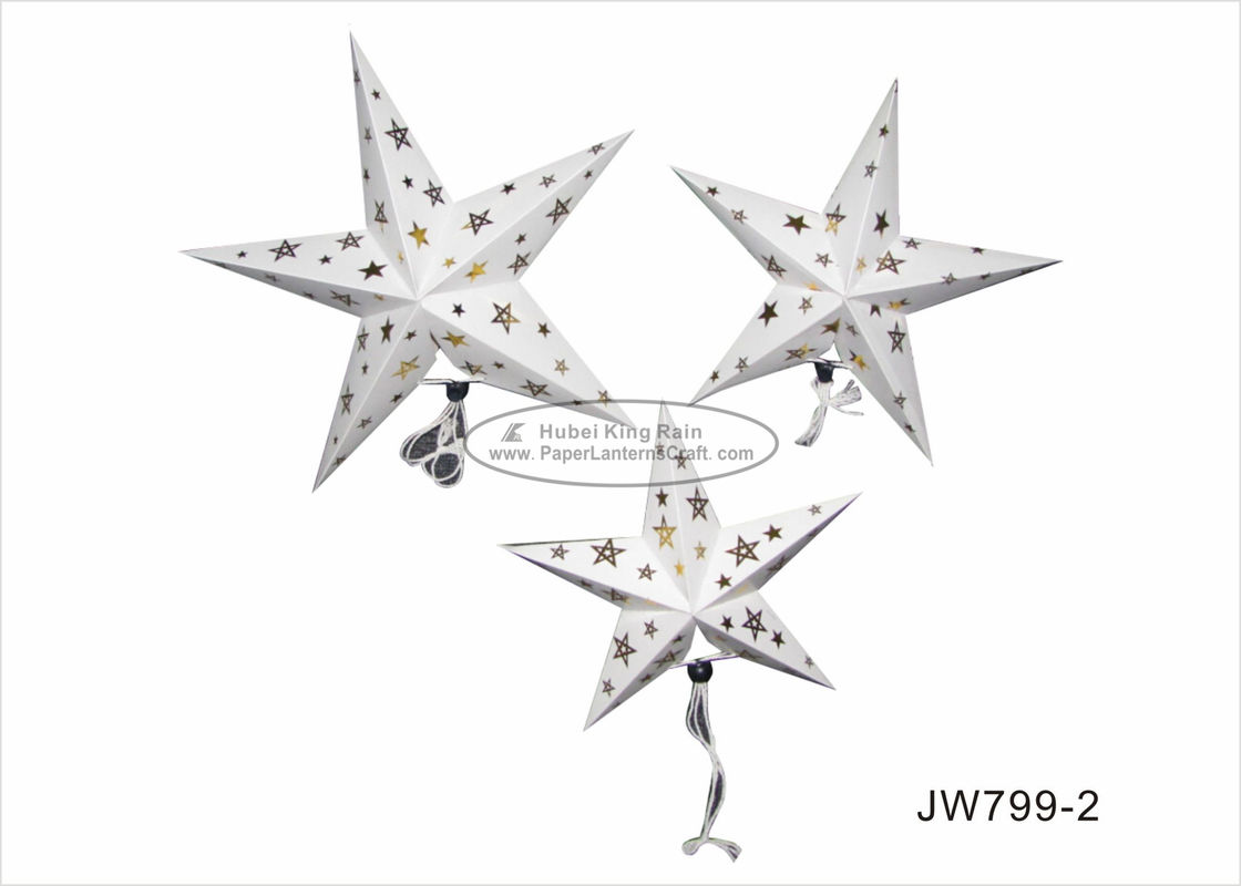 60cm Foil Gold White Star Shaped Paper Lanterns For Birthday Parties Decoration
