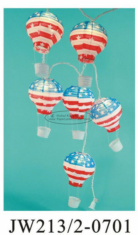 July 4th USA String Paper Balloon Lanterns , Floating Paper Lantern Balloons 13 X 22cm