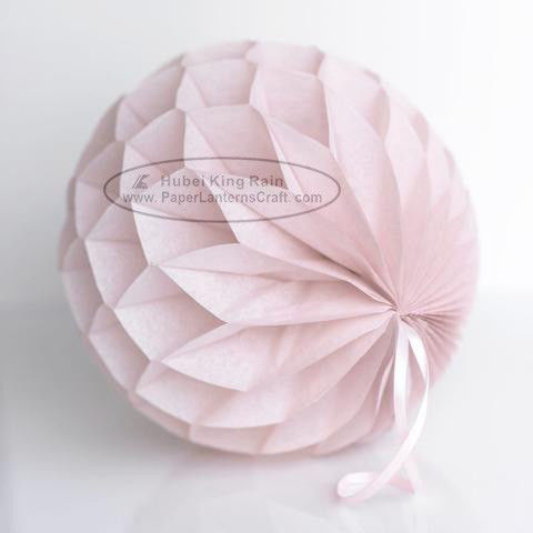Dusty Pink Tissue Paper Honeycomb Balls Pom Poms With Satin Ribbon Loop