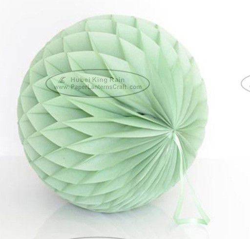 Dusty Green Tissue Paper Honeycomb Balls Pom Poms With Satin Ribbon Loop